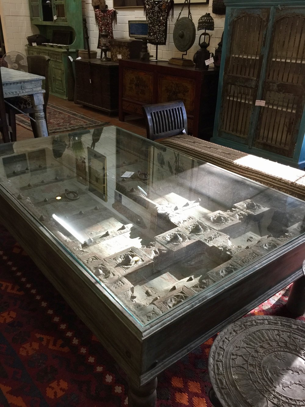 Gujarat Coffee Table With Glass Top