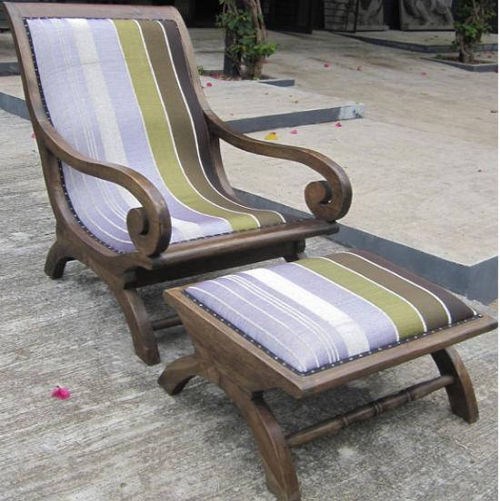 Teak Lazy Chair with Sabra Cloth