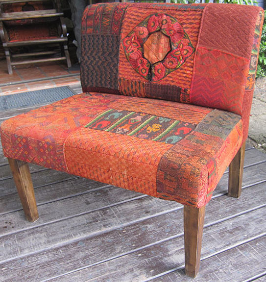 Low Chair Upholstered with Guatemalan Blanket