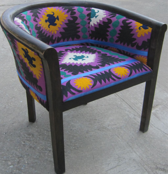 Charles Tub Chair with Suzeini Cloth