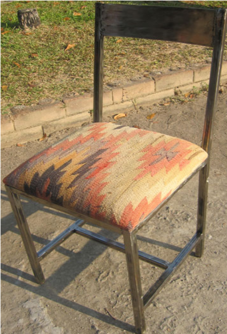 Bella Iron Chair with Anatolian Kilim