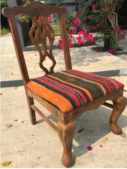 Dining Chair with Anatolian Kilim