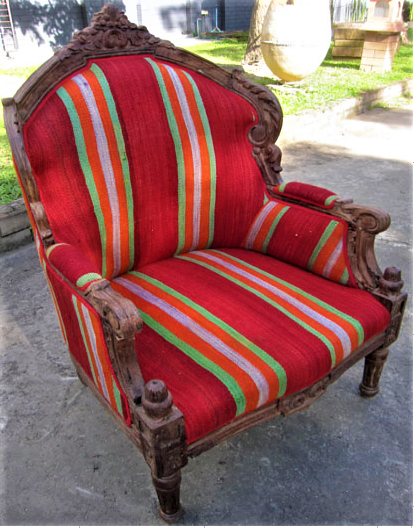 Chair with Moroccan Berber Blanket