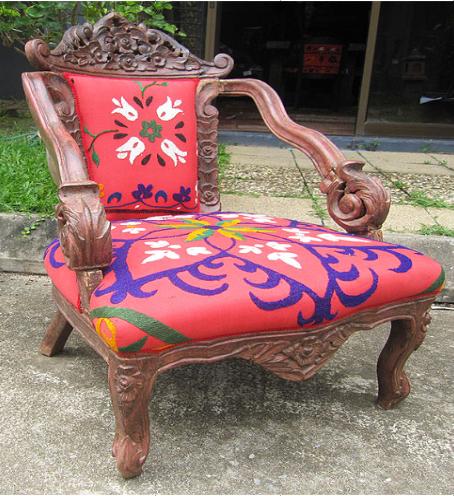 Chair with Uzbek Suzeini Cloth