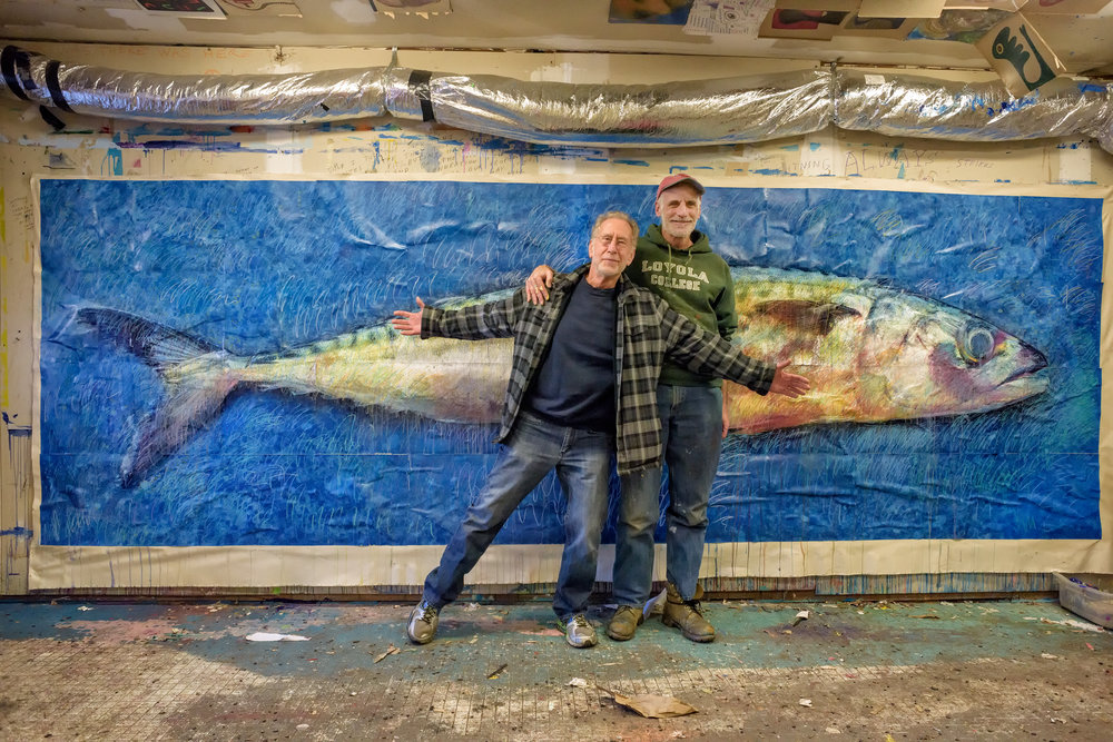 "MACKEREL,  64"" x 192"" (mixed media: photo, pastel and oil crayon, acrylic paint and medium on canvas)"