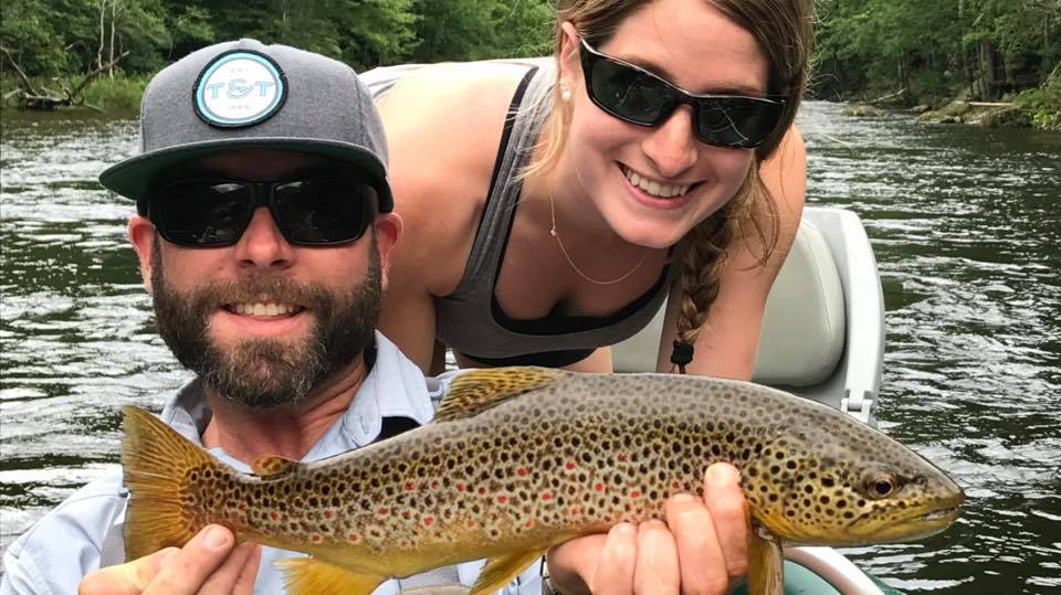 Wild brown trout caught on the Deerfield River mid-summer