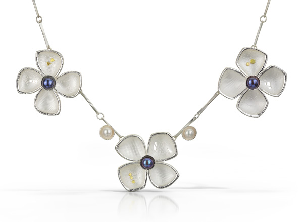 Three Flower Dogwood Necklace, 18k, Sterling Silver & Freshwater Pearls.  $675