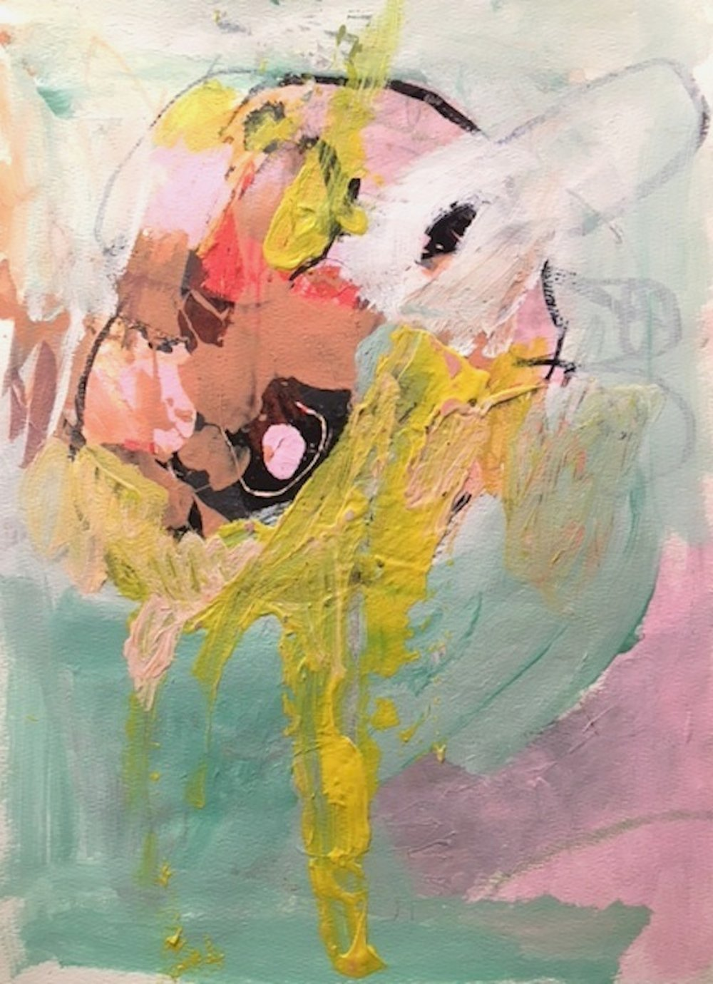Untitled, 2016, acrylic, mixed media on paper. (Permanent collection, Foundation Center, NYC)