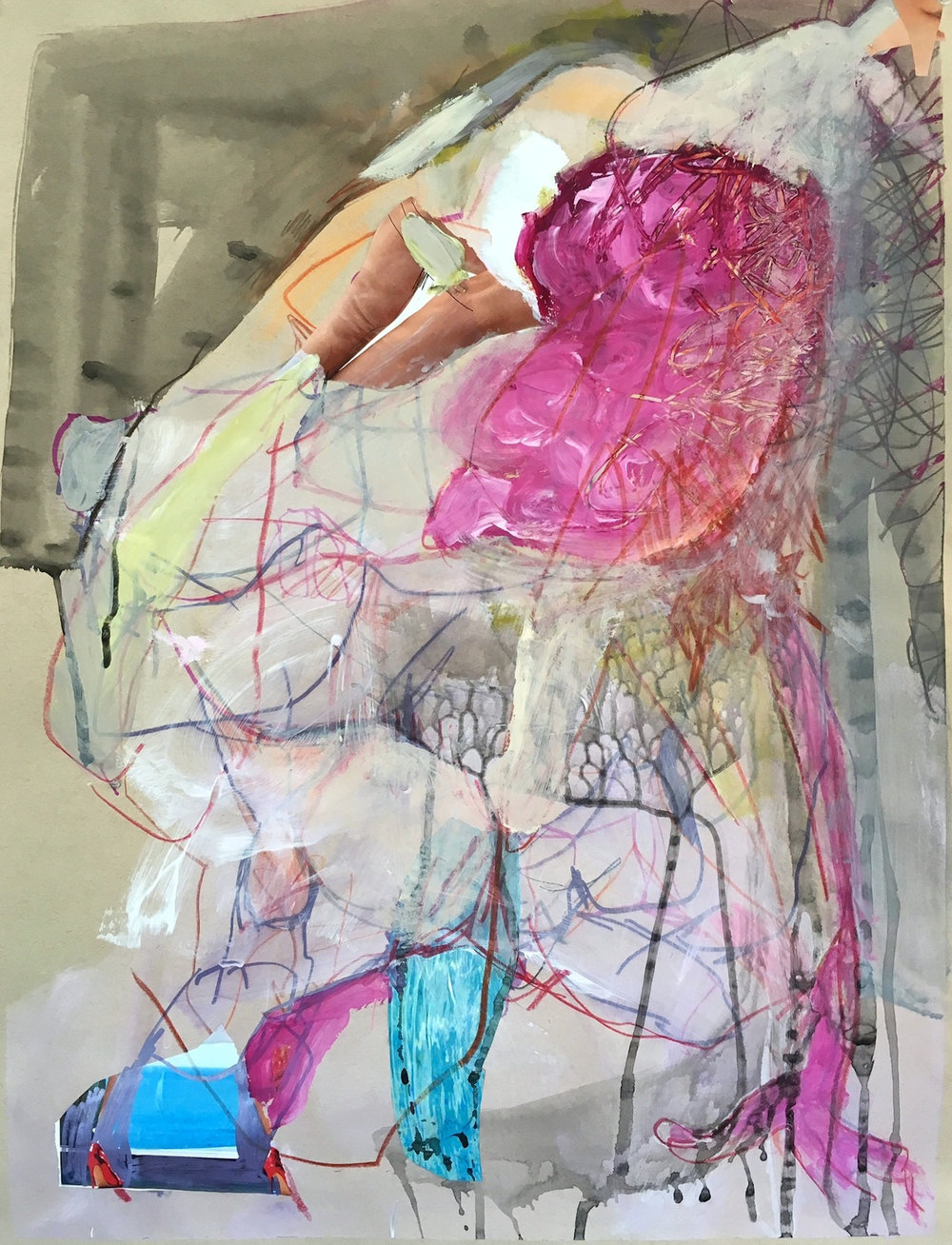 Untitled, 2016, acrylic, collage, pen on paper (Permanent Collection, Foundation Center, NYC)