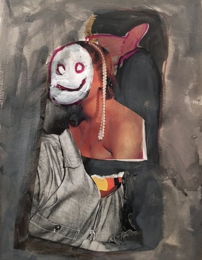 Smile, 2016, acrylic, collage on paper (private collection)