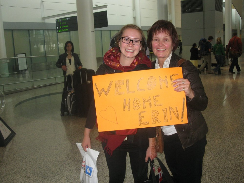My mom welcoming me home at the airport