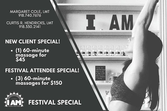 We have massage therapists coming from I AM Yoga Tulsa tomorrow and Sunday so stop by and sign up for one of their 2018 I AM Yoga Festival specials or get yourself a massage while you're there.  This weekend is all about YOU!  Curtis Russell Hendricks + Margaret Cole
