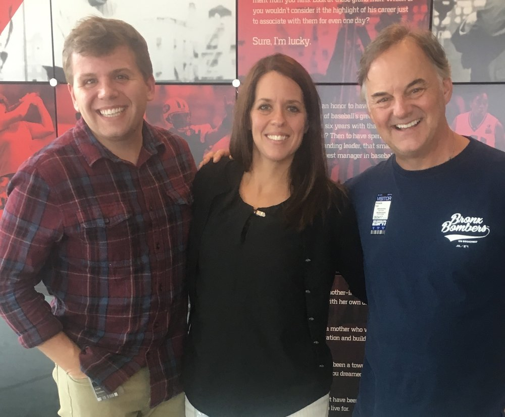 With Jason Kostura and Rayna Banks, producers of ESPN's E:60,  The Forgotten Yankee  at ESPN headquarters in Bristol. CT. (Photo by Page Ford)