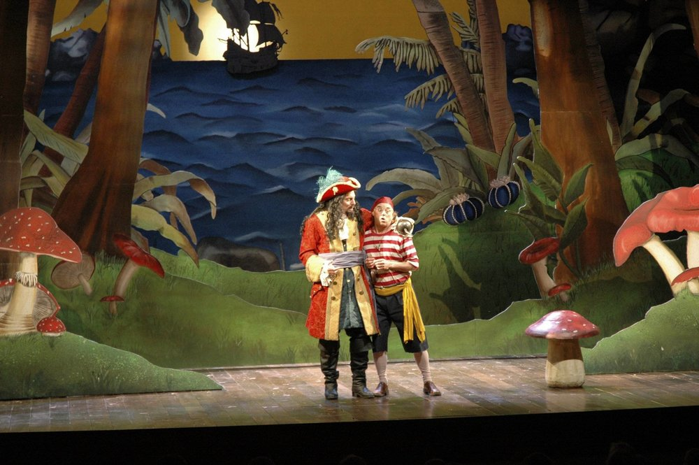 Smee in Peter Pan with Broadway actor John Rensenhouse as Hook for The Professional Theatre training Program at the University of Delaware (Photo by Paul Cerro)