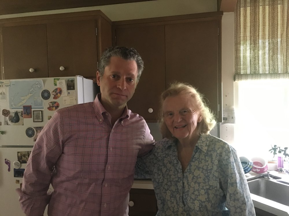 Jeremy Schaap and my mom in the kitchen before saying good-bye. She passed the crew a full spread of Sushi, a first in E:60 history.