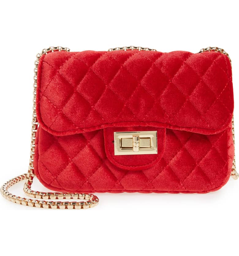 965d52bb5213 Red Velvet Quilted Chanel Inspired Purse — Holy Chic