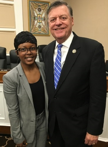 Jazmin Goodwin, GEAR UP Alum, and Congressman Tom Cole (OK-04) following Jazmin's    testimony calling for increased GEAR UP funding   .