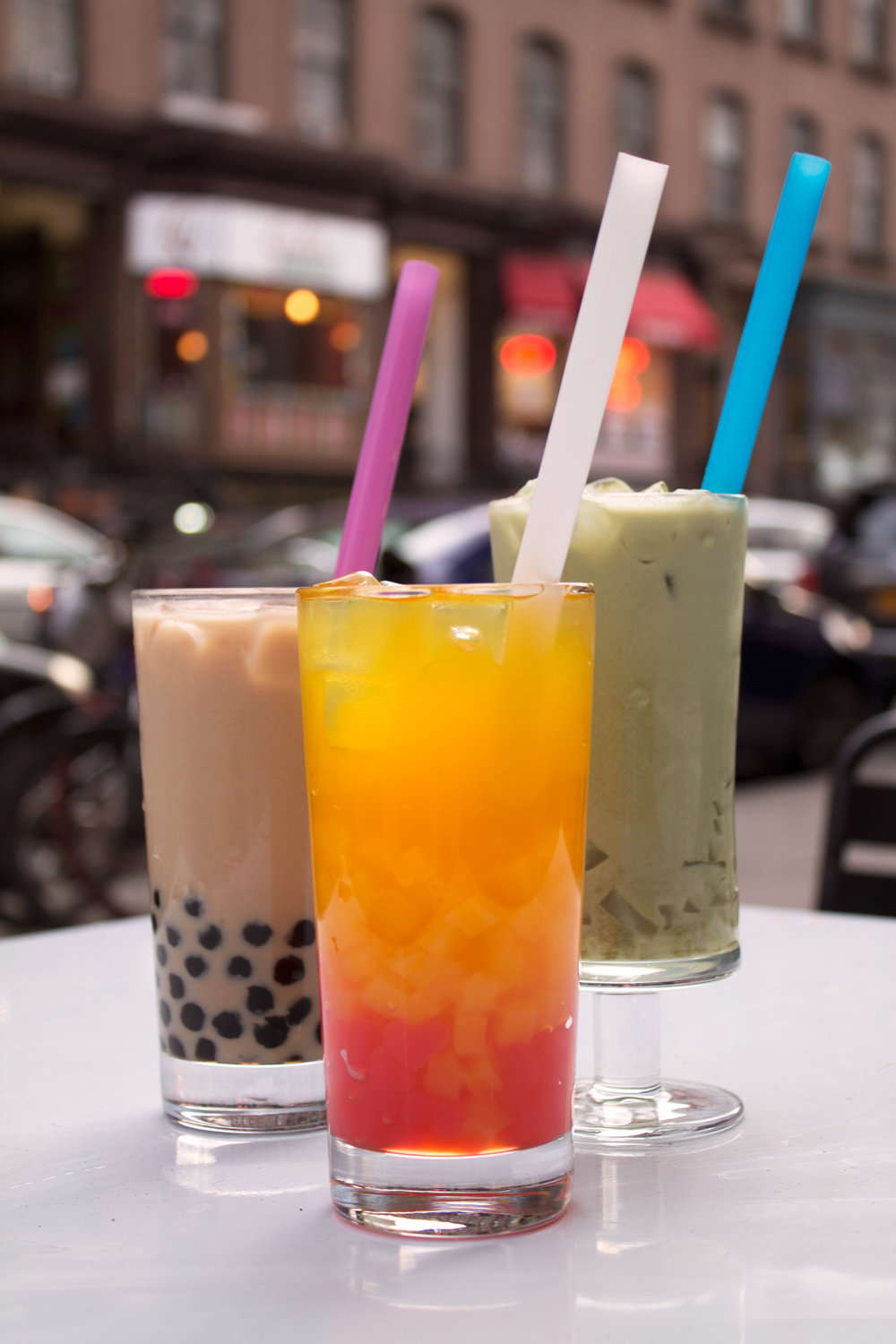 Variety of bubble tea with tapioca or jelly