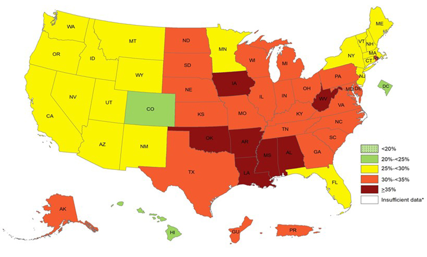 Prevalence of Self-Reported Obesity Among U.S. Adults by State and Territory, BRFSS, 2017