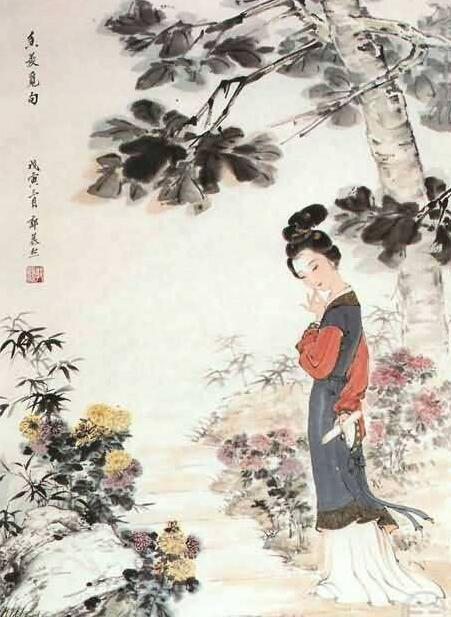 圖:郭慕熙工筆仕女畫《香菱覓句》Photo: A Chinese painting of Xiang Liang by Guo Muxi