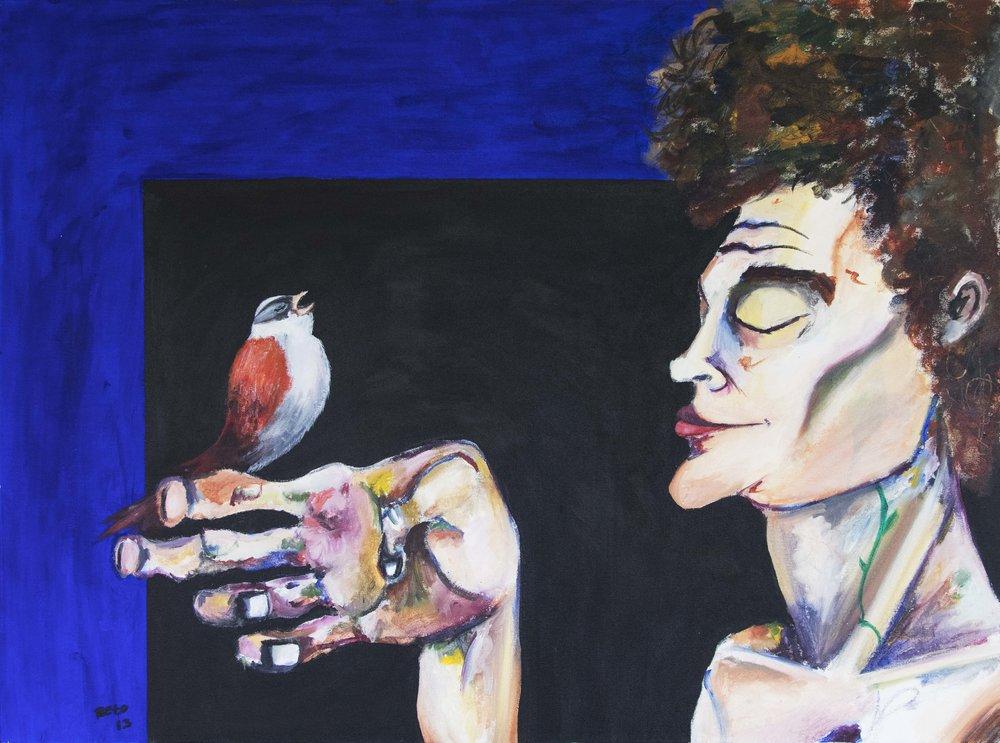 """EL CANTO DEL PAJARO 2013   Acrylic on canvas  40"""" X 30"""""""