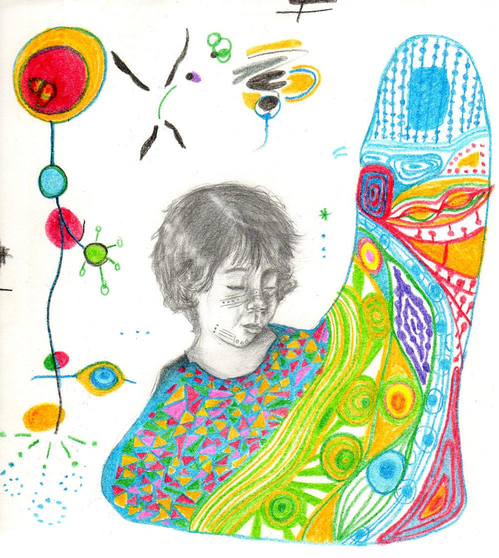 "MATUQUI 20  15   Color pencils and graphite on paper  5"" x 5"""