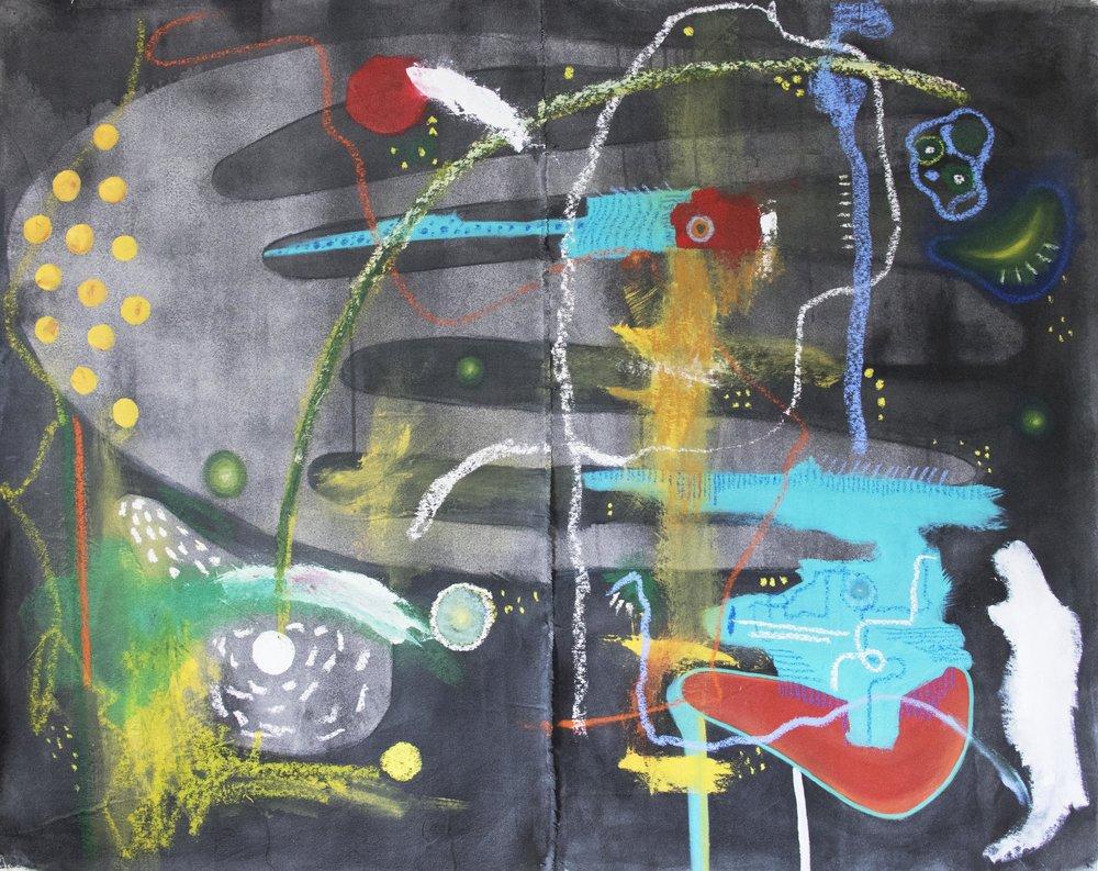 """TRANSFORMACI  ÓN  2018   Acrylic and Oil on canvas  59"""" x 47"""""""