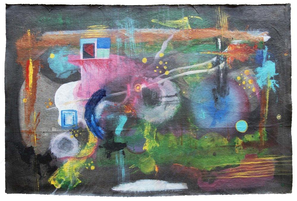 """EL DEVENIR DEL PEZ EN TRANCE 2018   Acrylic on canvas  30"""" x 20"""""""