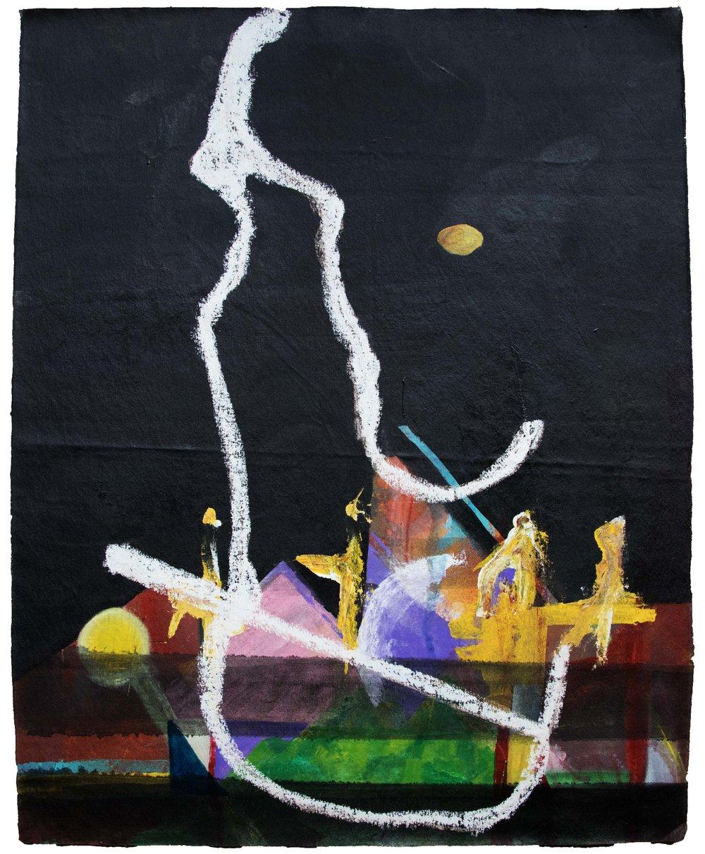 """RITUAL DE LAS MONTA  ÑAS 2018   Acrylic on canvas  11"""" x 28"""""""
