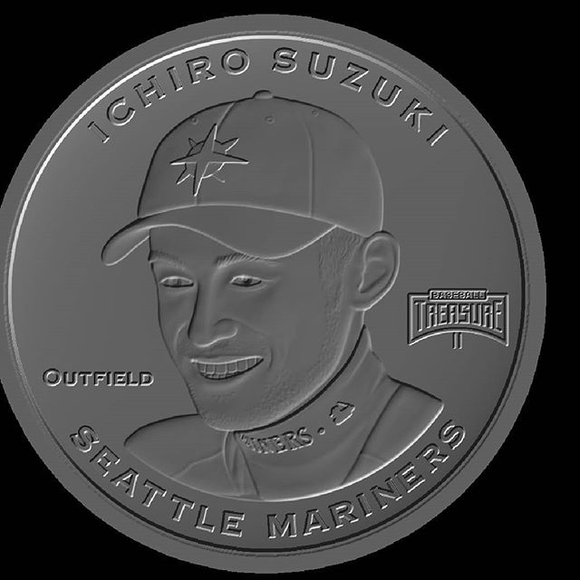 Ichiro.  The die is cast.  #collect #thehobby #jointhehunt #mlb #mlbpa #baseball #coins #ichiro #seattle #mariners #japanesebaseball