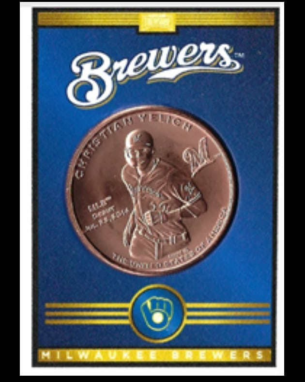 Hunt for @christianyelich coins in our packs or buy your own at the @brewers team store. #baseballtreasure #milwaukee #Brewers #collectthehobby #thisismycrew #coins #baseballcards #baseball