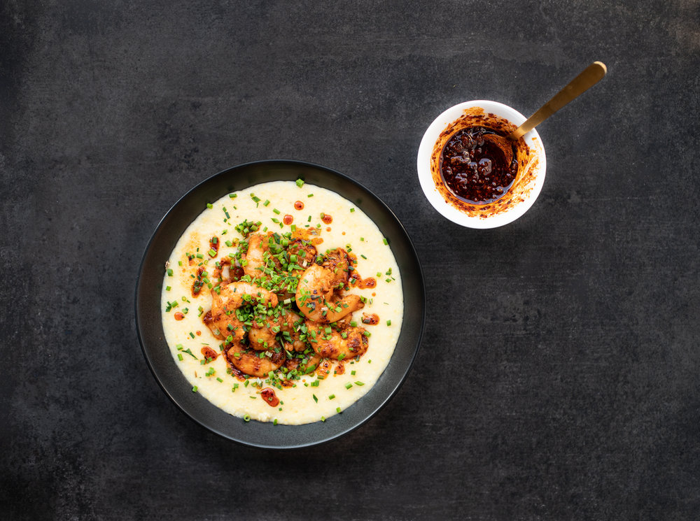 Spicy Harissa Shrimp and Grits