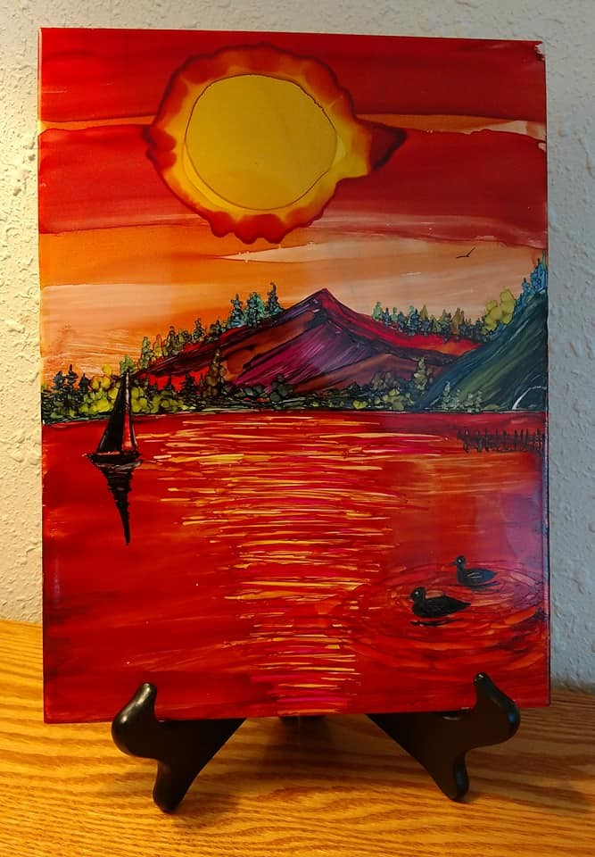 9x12 Sunset Sailboat $35