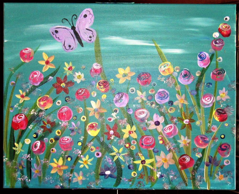 $35 Butterfly Garden-Aqua