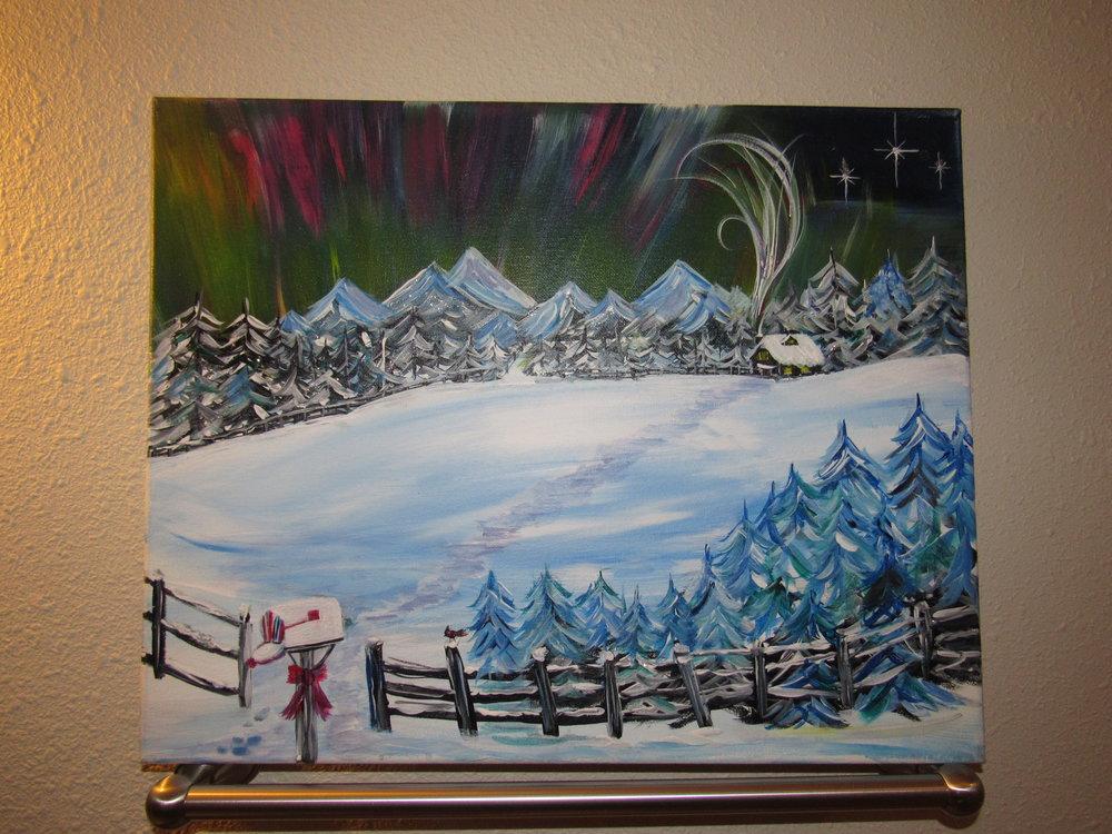 $35 Northern Lights Christmas Cabin