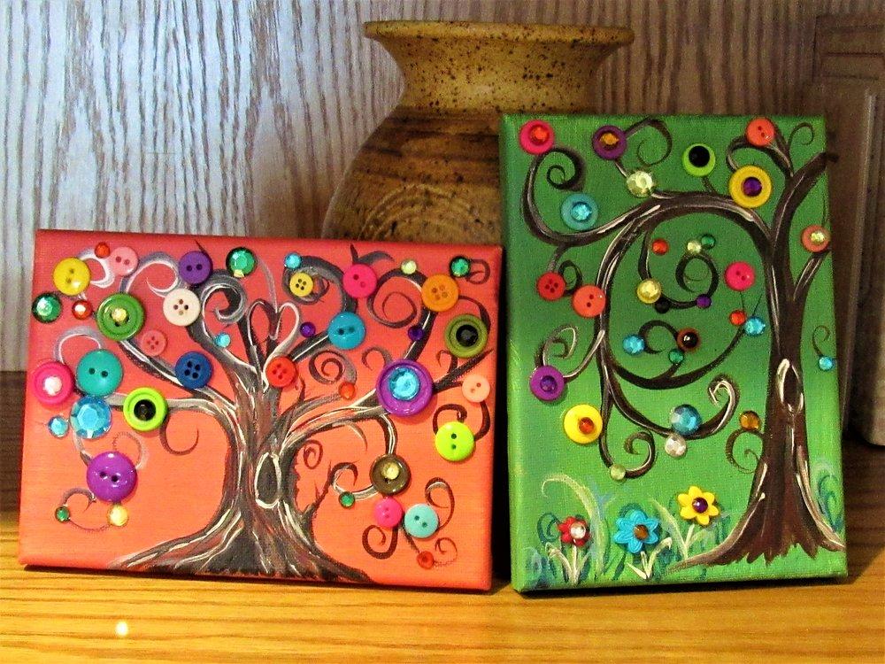 5x7 Button Trees $10