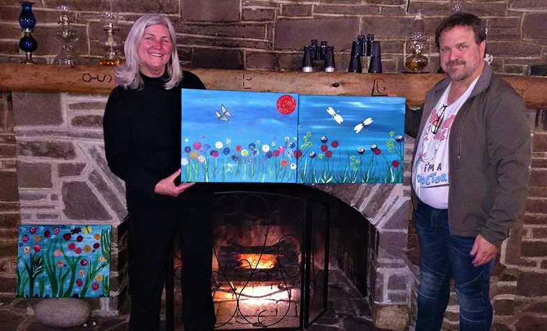 "On  a random day drive this couple from Beaverton, dropped into the Mt. Adams, WA. Flying L Ranch to go bird watching and decided to stay over and join our ""Secret Butterfly-Dragon Tails"" Weekend Retreat PaintnParty and look what happened!"