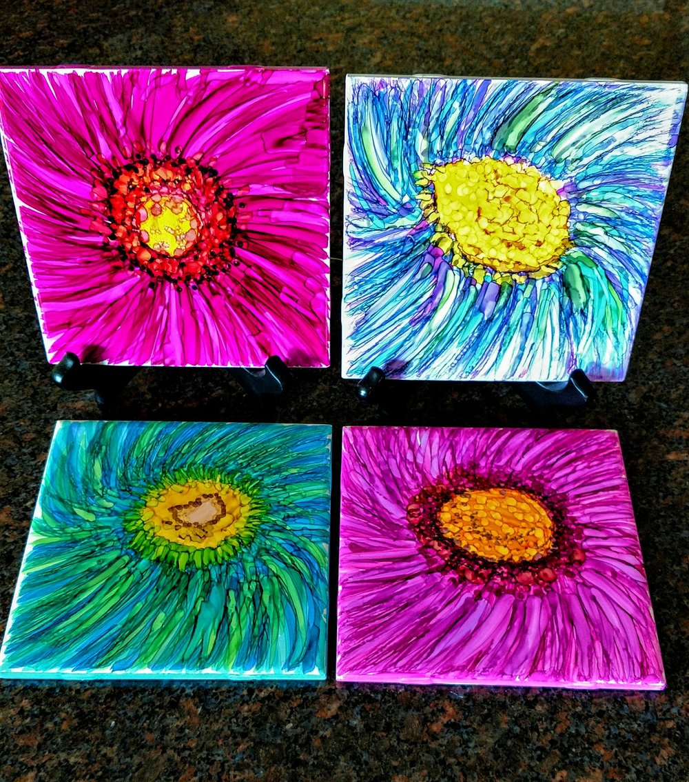 "6X6  4X4 ""Late Bloomers"" on Ceramic Tiles with alcohol ink markers Display Sold Separately"