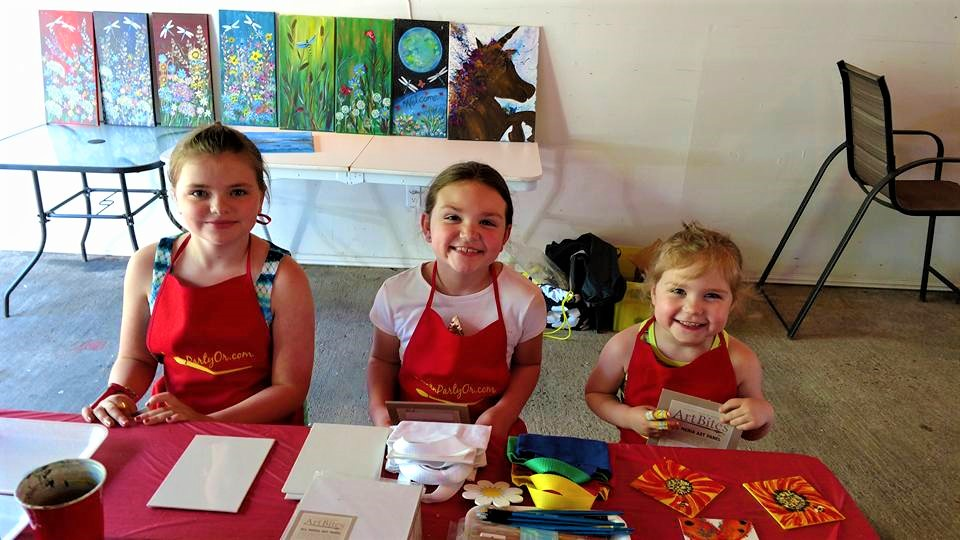 Have a Kids n Canvas Table while adults PaintnParty! Canvas Tote kits include 3 projects $15 each per child