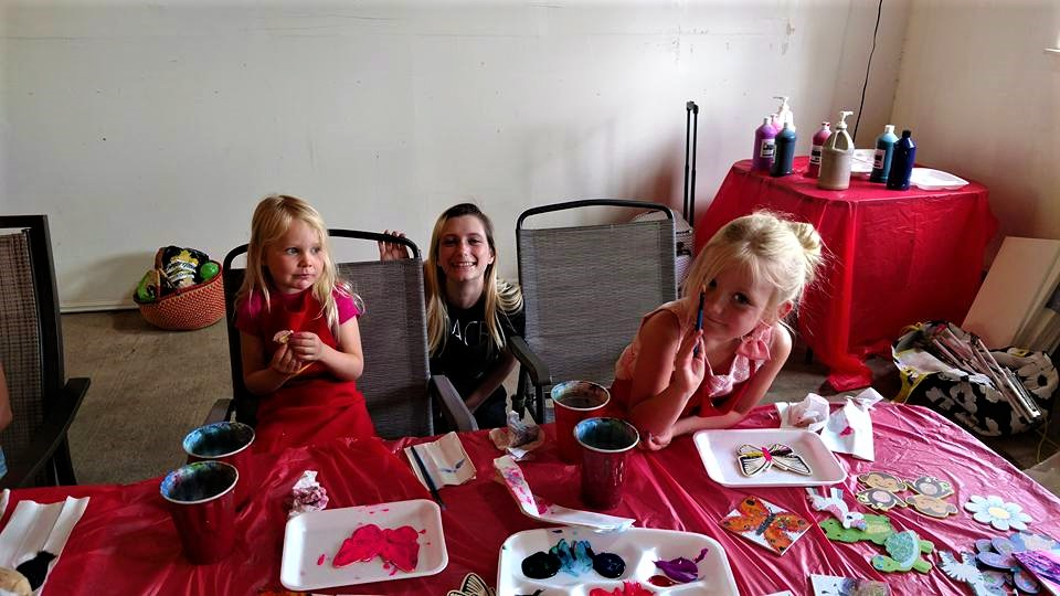 while the adults paintnparty - have a kids 'n canvas party table$15 tote kits-3 projects