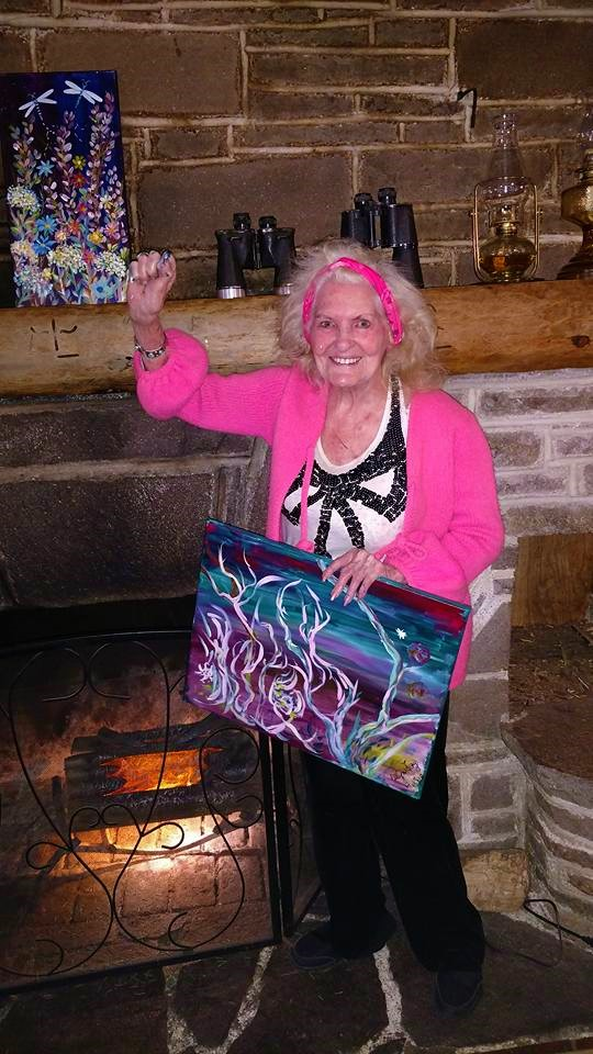 an american icon shows off her first time painting at paintnpartyor Ada