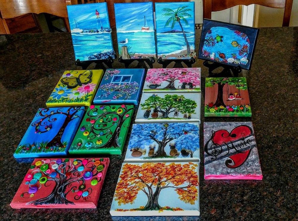 5x7 BUTTON TREES & PET ROCK PEBBLE ART