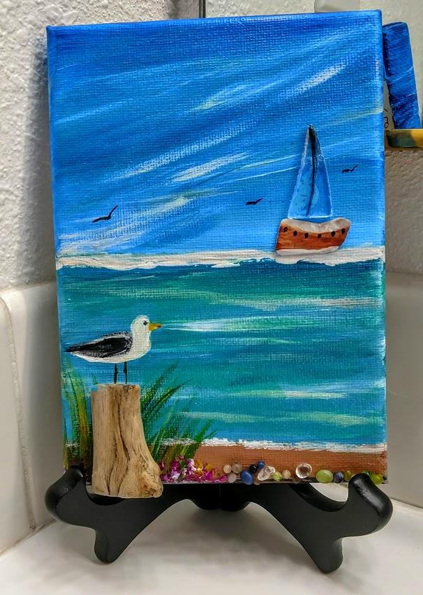 $15 5x7 Sea Glass & Pebbles Sail Boat