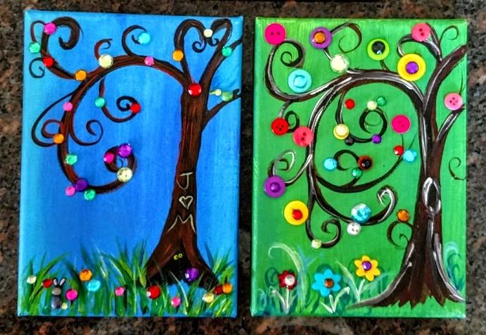 5X7 Button & Gem Trees