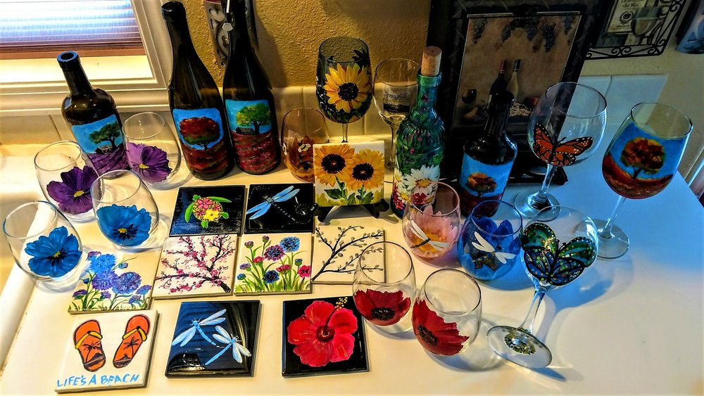 HOST OR JOIN US -PAINTING PARTIES - paint your own designs, USABLE ART! - CUSTOM ORDERS -BUY ME -