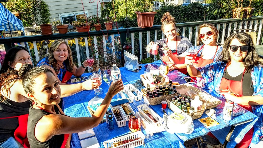 WINE GLASSES AND TILES, MAXINE'S - HOST A PAINTNPARTY AT MY WEST SALEM HOME