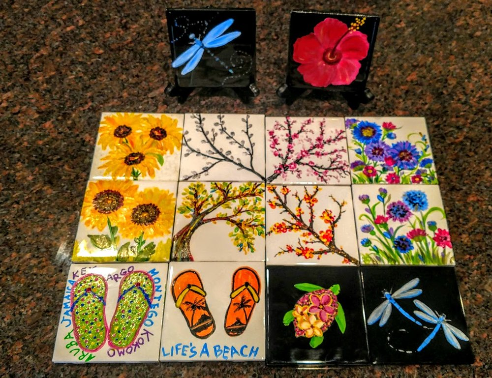CERAMIC TILES ARE USABLE FOR COASTERS AND PAINTINGS TO DISPLAY IN YOUR BATH, KITCHEN OR GIVE AS GIFTS! MAKE A MATCHING SET - 4/$35 USABLE ARTWARE PERFECT FOR GIFTS!