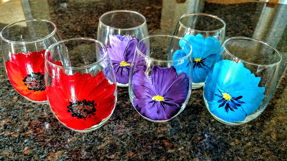 PERFECT FOR GUESTS TO REMEMBER THEIR DRINK GLASSES - POPPIES! 4/$35