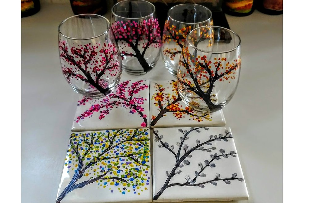 "- ""four seasons BRANCHES""2 glasses & 2 tiles $35 OR 4 GLASSES $40"
