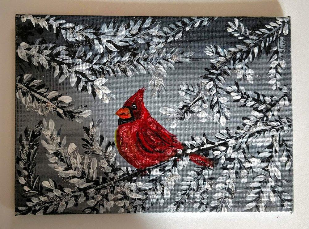 5X7 Winter Cardinal